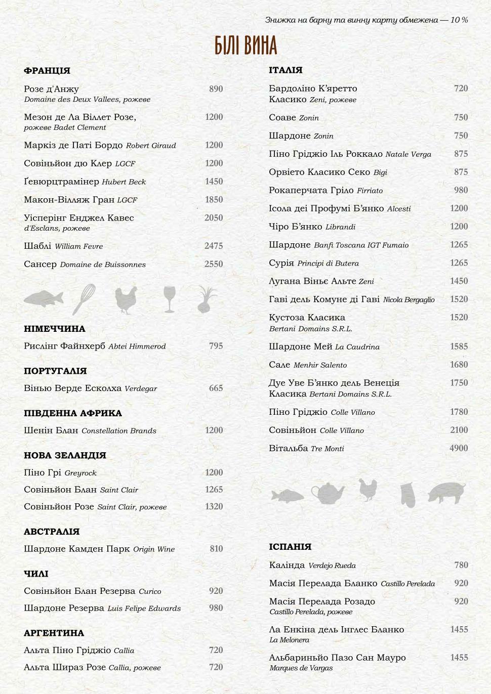 Карта вин ресторана PERETS