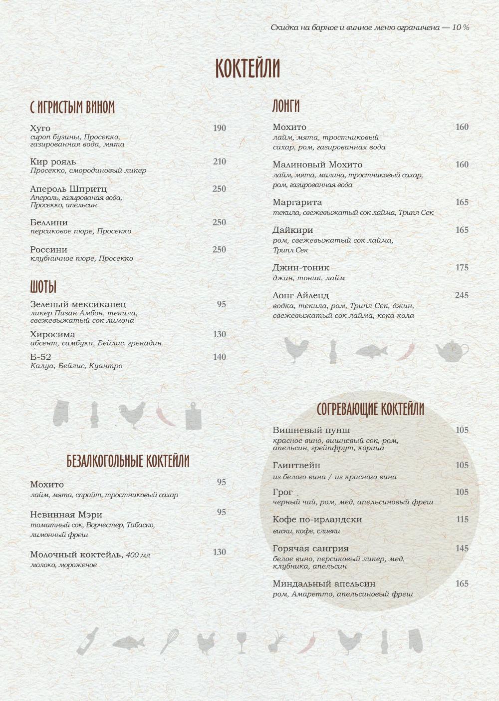 Основное меню ресторана PERETS