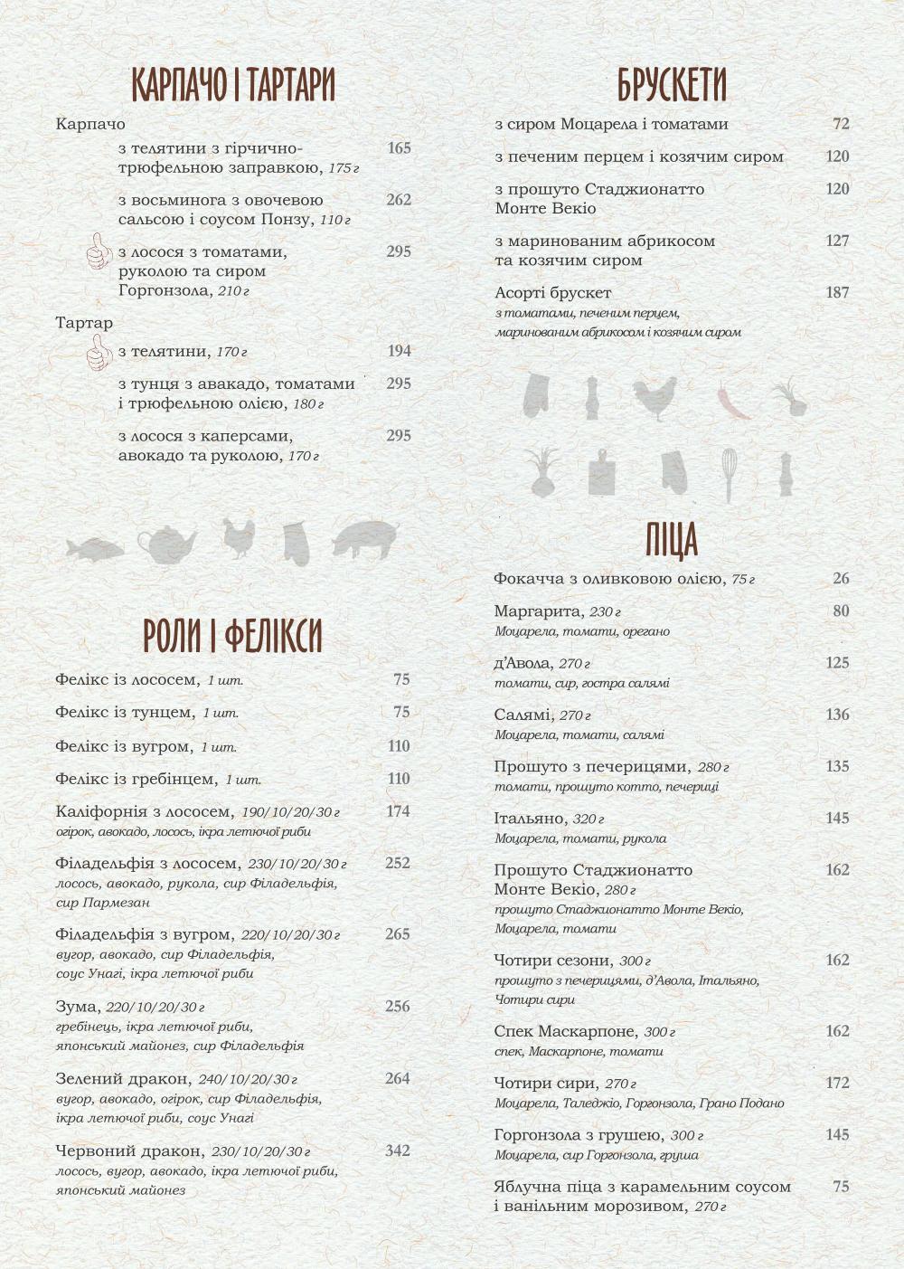Основне меню ресторана PERETS