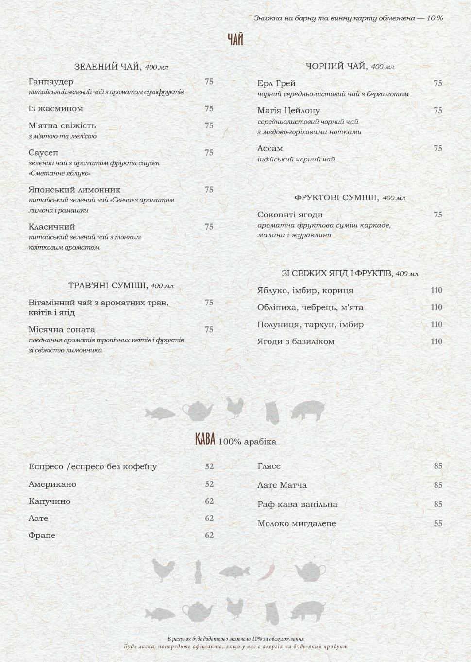Основное меню - ресторана PERETS